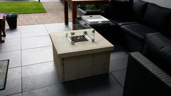 Vuurtafel Block White Wash 80x80x50