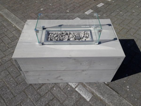 Vuurtafel Boxxx Terrasverwarmer 60x100x50cm van Grey Wash steigerhout