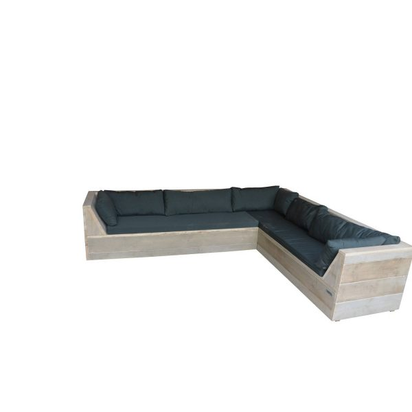 Wood4you - Loungeset 6 Steigerhout 200x250 Cm - Gl-vorm - Incl. Plofkussens
