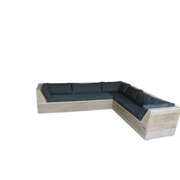 Wood4you - Loungeset 6 Steigerhout 200x260 Cm - Gl-vorm Incl. Plofkussens
