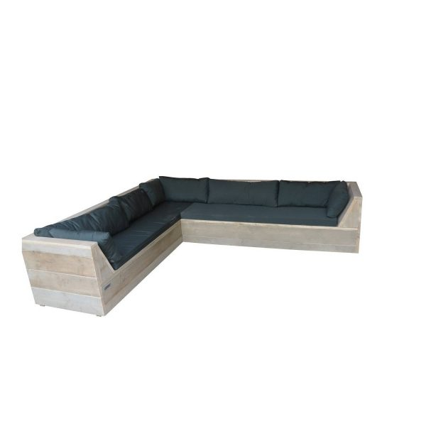 Wood4you - Loungeset 6 Steigerhout 260x200 Cm - L-vorm - Incl. Plofkussens