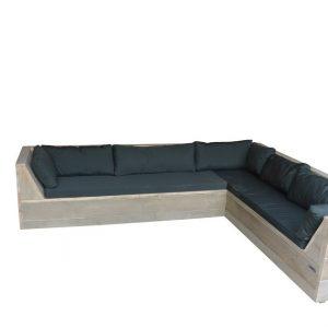 Wood4you - Loungeset 6 steigerhout 200x200 cm - incl kussens