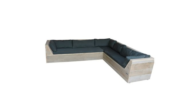Wood4you - Loungeset 6 steigerhout 200x230 cm - incl kussens