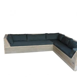 Wood4you - Loungeset 6 steigerhout 230x230 cm - incl kussens