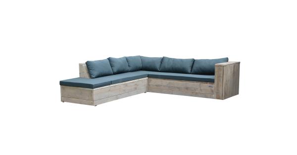 Wood4you - Loungeset 7 steigerhout 200x250 cm - incl kussens (L-vorm)