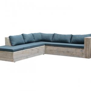 Wood4you - Loungeset 7 steigerhout 220x200 cm - incl kussens (L-vorm)
