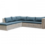 Wood4you – Loungeset 7 steigerhout 230×200 cm – incl kussens (L-vorm)