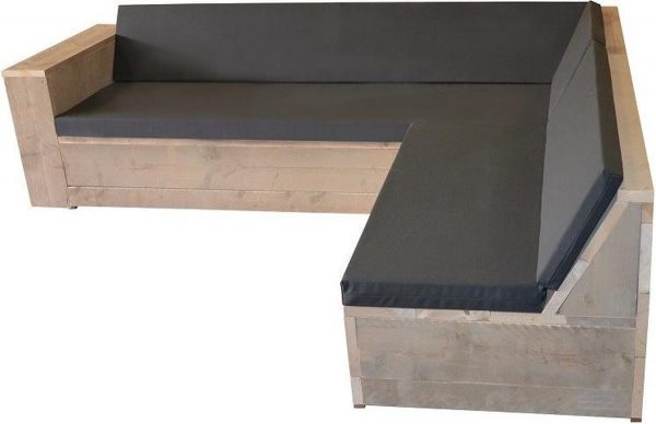 Wood4you - Loungeset One steigerhout 200x250 cm - GL-vorm- incl kussens