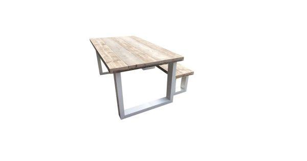 Wood4you - New England combideal Eettafel + Bankje - 180Lx90Hx78D cm
