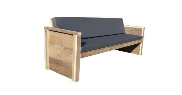 Wood4you - Tuinbank Ameland - 'Doe het zelf' Bouwpakket steigerhout 150Lx57Hx72D cm - Incl kussen