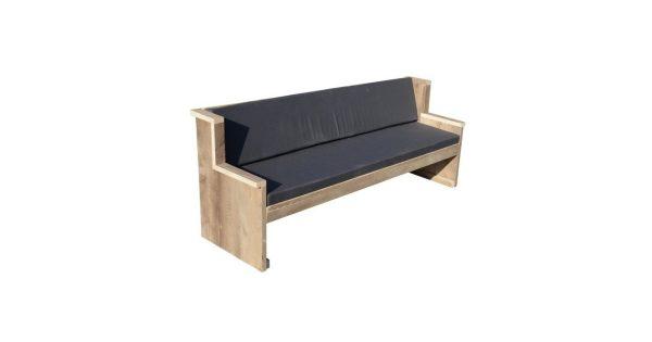 Wood4you - Tuinbank Zeeland - 'Doe het zelf paket' Steigerhout - 180Lx72Hx62D cm - Incl kussen