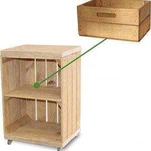 Steigerhoutpassie Nachtkastje - Mobiel - Nieuw - Oude Look - Bruin - Incl. Lade kort - 40x30x60cm