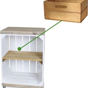 Steigerhoutpassie Nachtkastje - Mobiel - Nieuw - Wit - Legplank Bruin - Incl. Lade kort - Steigerhout - 40x30x60cm