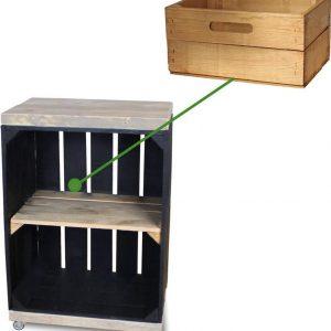 Steigerhoutpassie Nachtkastje - Mobiel - Nieuw - Zwart - Legplank Bruin - Incl. Lade kort - Steigerhout - 40x30x60cm