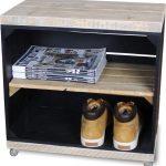 Steigerhoutpassie Nachtkastje – Mobiel – Nieuw – Zwart – Legplank Bruin Lang – Steigerhout – 50x30x50cm