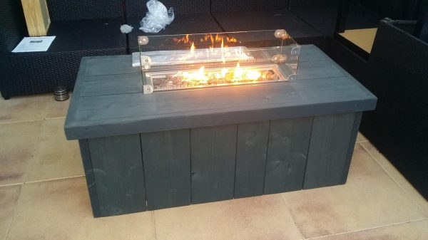 Vuurtafel Block 60x120cm van Antraciet Wash steigerhout