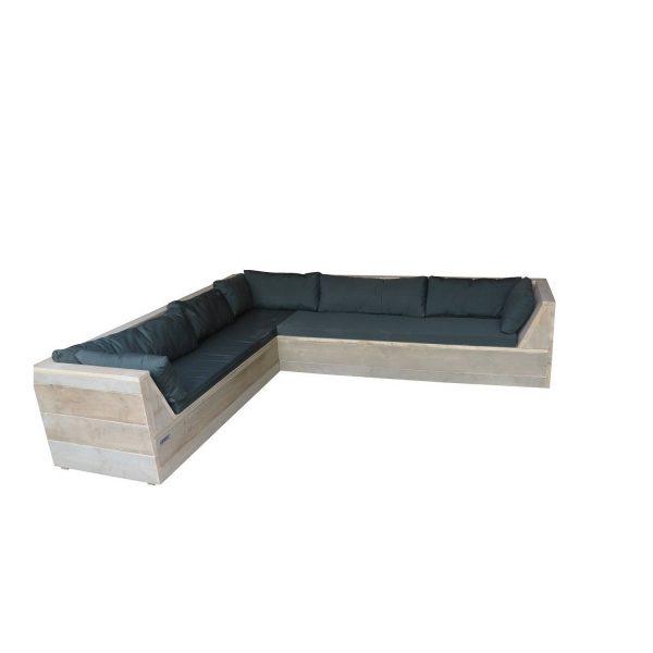 Wood4you - Loungeset 6 Steigerhout 250x200 Cm - L-vorm - Incl. Plofkussens