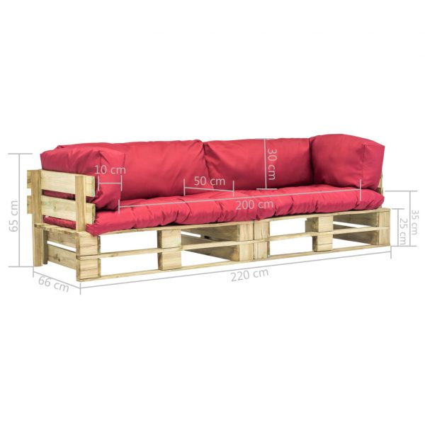2-delige Loungeset pallet met rode kussens grenenhout