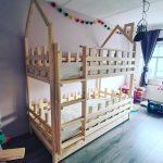 Bedhuisje Schoorsteen   boomhut bed   Steigerhout   Kinderbed  