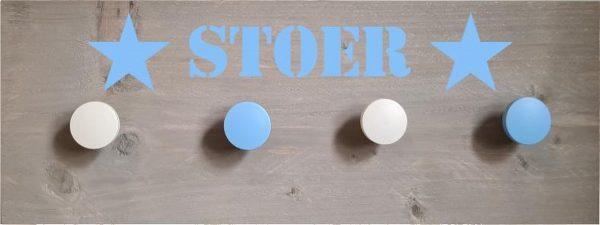 Kinderkapstok - babykamer - steigerhout - kapstok van hout - blauw