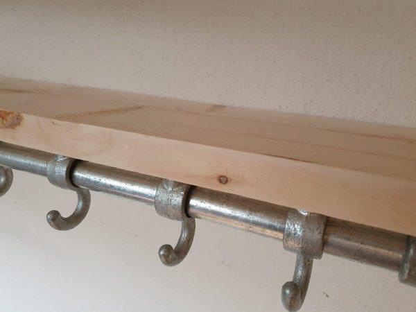 Steigerbuis Kapstok met Bovenplank | 100cm | 6 Haken | Buis 28mm | Industrieel | Loft | Robuust | Buis | Staal | Metaal | Hout en Staal | nieuw steigerhout | 2x Geschuurd