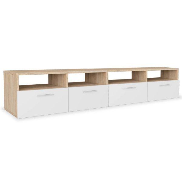 Vidaxl Tv-meubels 95x35x36 Cm Spaanplaat Eikenkleurig En Wit 2 St