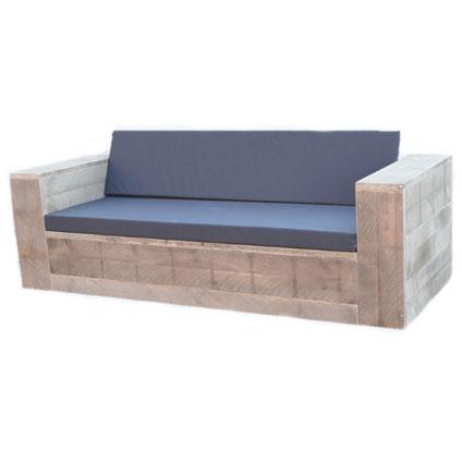Wood4You loungebank steigerhout met kussens 250cm