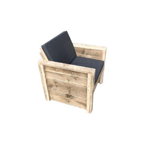 Wood4you Vlieland tuinstoel Douglas hout bouwpakket + kussens