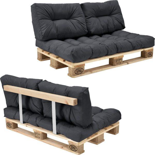 [en.casa]® Palletbank - tweezitsbank - pallet sofa grijs