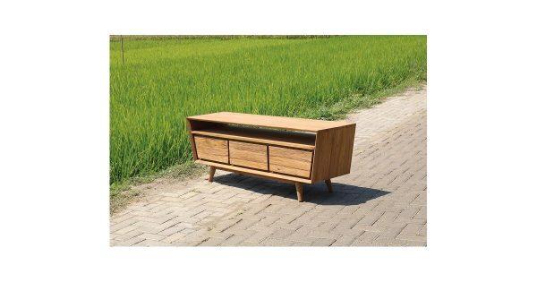 Teakhout tv-meubel - Retro - 160x57x45h - 3 laden - open vak