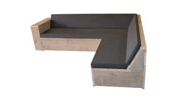 Wood4you - Loungeset 1 steigerhout 200x240 cm - GL-vorm- incl kussens