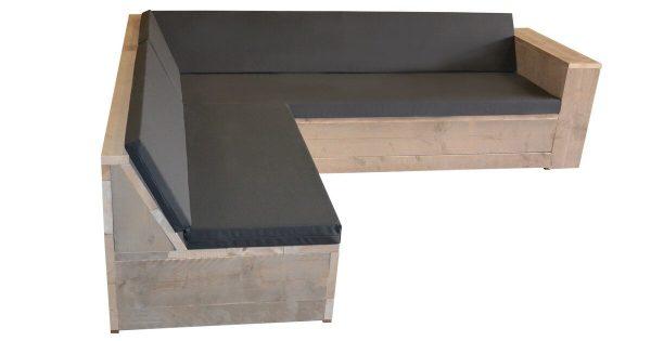 Wood4you Loungeset 1 steigerhout 210x200 cm - L-vorm - incl kussens
