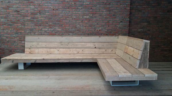 Fancy Loungebank - Steigerhout- Metaal - Industrieel design