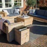Outside Meubelen | Complete tuinbanken steigerhout set 7 zitplaatsen| Old look | Antraciet kussens