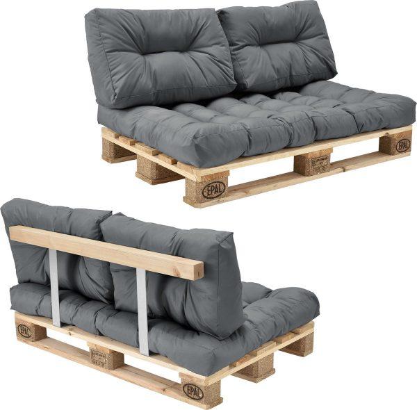 Palletbank - tweezitsbank - pallet sofa - lichtgrijs