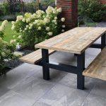 Steigerhout – picknicktafel – metaal – 200 m – kwaliteit – oud steigerhout