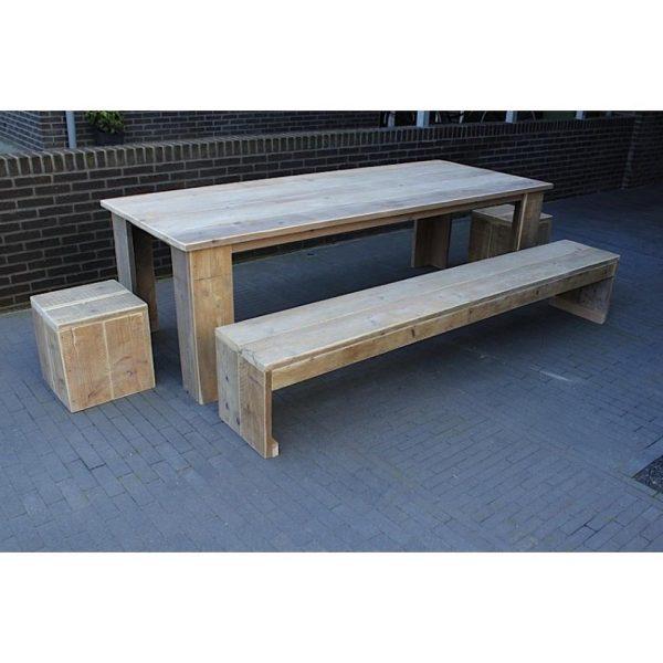 Steigerhout tuinset Klassiek - tafel 160x80 - 2 bankjes - 2 krukjes - oud steigerhout