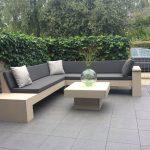 Steigerhouten hoekbank met chaise longue – Loungeset – Doe het zelf – Bouwpakket hoekbank met chaise longue – 220x270cm buitenwerks