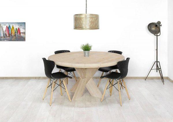 Steigerhouten ronde tafel Bluff met kruispoten