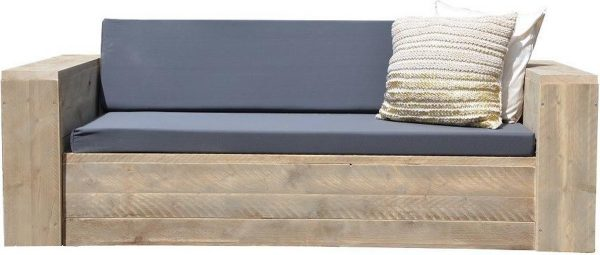 Wood4you - Loungebank steigerhout Washington 250Lx70Hx80D cm - incl kussens