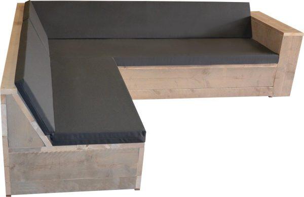 Wood4you Loungeset 1 steigerhout 240x200 cm - L-vorm - incl kussens