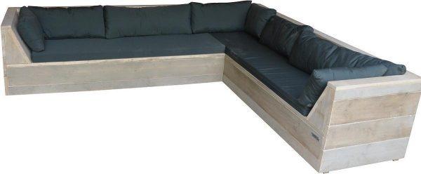Wood4you - Loungeset 6 steigerhout 220x200 cm - L-vorm incl. plofkussens