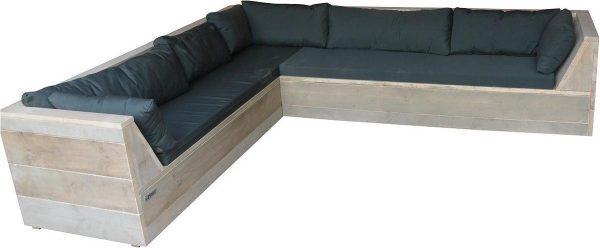 Wood4you - Loungeset 6 steigerhout 260x200 cm - L-vorm - incl. plofkussens