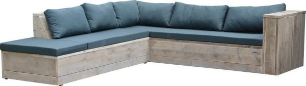 Wood4you - Loungeset 7 steigerhout 200x220 cm - incl kussens (L-vorm)