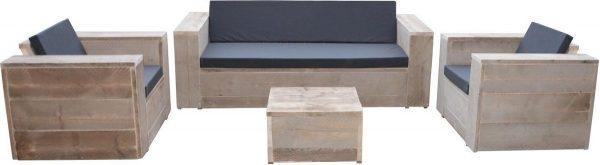 Wood4you- Loungeset steigerhout Four - incl kussens
