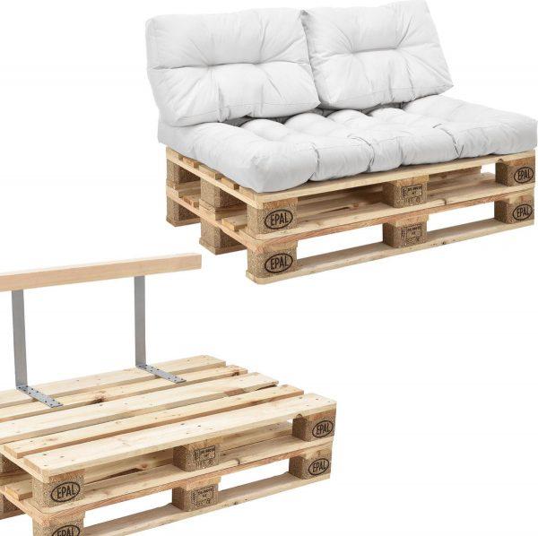[en.casa]® Palletbank - tweezitsbank - pallet sofa - wit