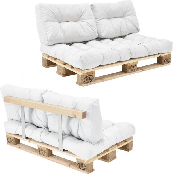 [en.casa]® Palletbank - tweezitsbank - pallet sofa wit