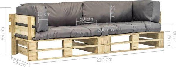 vidaXL 2-delige Loungeset pallet met grijze kussens grenenhout VDXL_275297