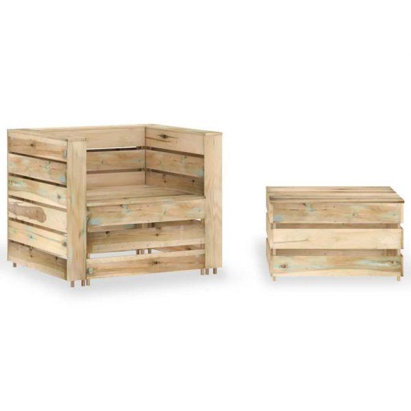 2-delige Loungeset pallet geïmpregneerd grenenhout