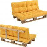 [en.casa]® Palletbank – tweezitsbank – pallet sofa geel